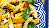 Barbecued corn, spinach and avocado salad
