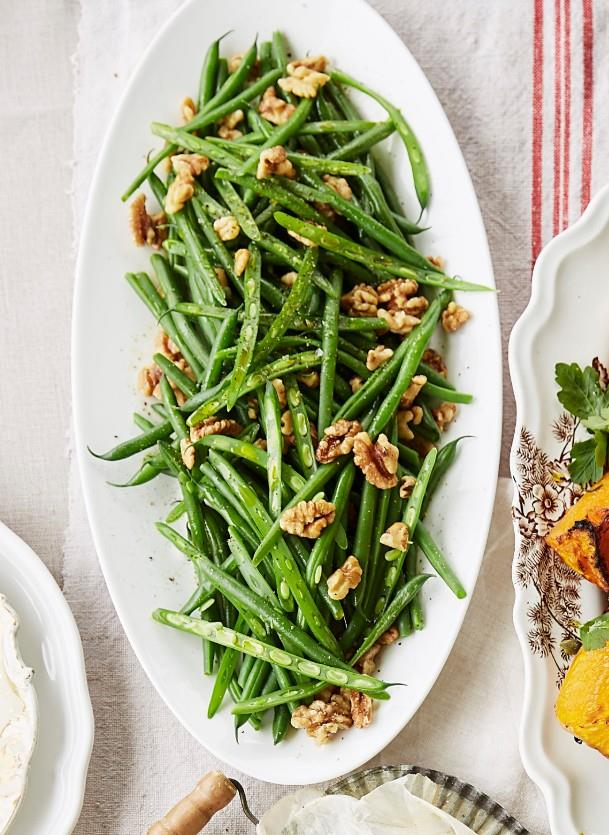 "**[Green beans with roasted walnuts](https://www.womensweeklyfood.com.au/recipes/green-beans-with-roasted-walnuts-31378|target=""_blank"")** An easy but impressive side dish - fresh crispy green beans with an added crunch of walnuts."