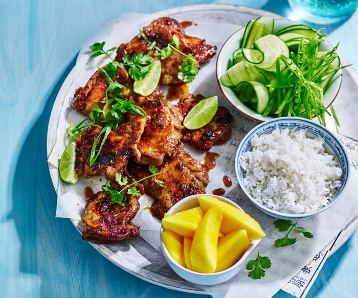 Sticky Thai chicken with coconut rice