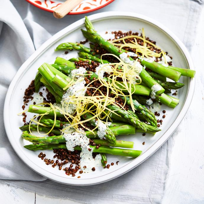 "**[Asparagus with crisp lentils and herb yoghurt](https://www.womensweeklyfood.com.au/recipes/asparagus-with-crisp-lentils-and-herb-yoghurt-31370|target=""_blank"")** Whip up this easy side with fresh asparagus and a tin of lentils, but the real star of the dish is the herb yoghurt."