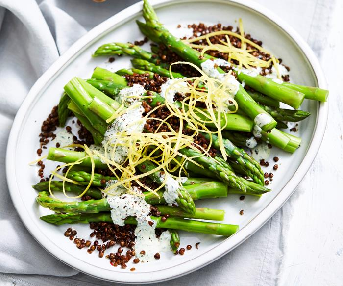 Asparagus with crisp lentils and herb yoghurt