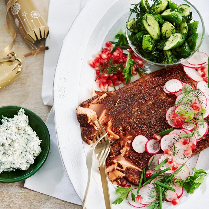 "[Salmon pastrami with yoghurt tartare](https://www.womensweeklyfood.com.au/recipes/salmon-pastrami-31406|target=""_blank"")"