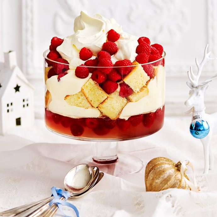"""**[Rosé and raspberry trifle](https://www.womensweeklyfood.com.au/recipes/rose-and-raspberry-trifle-31407