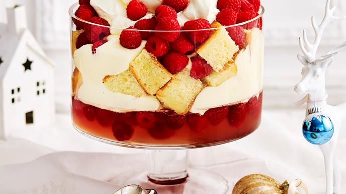 Rosé and raspberry trifle