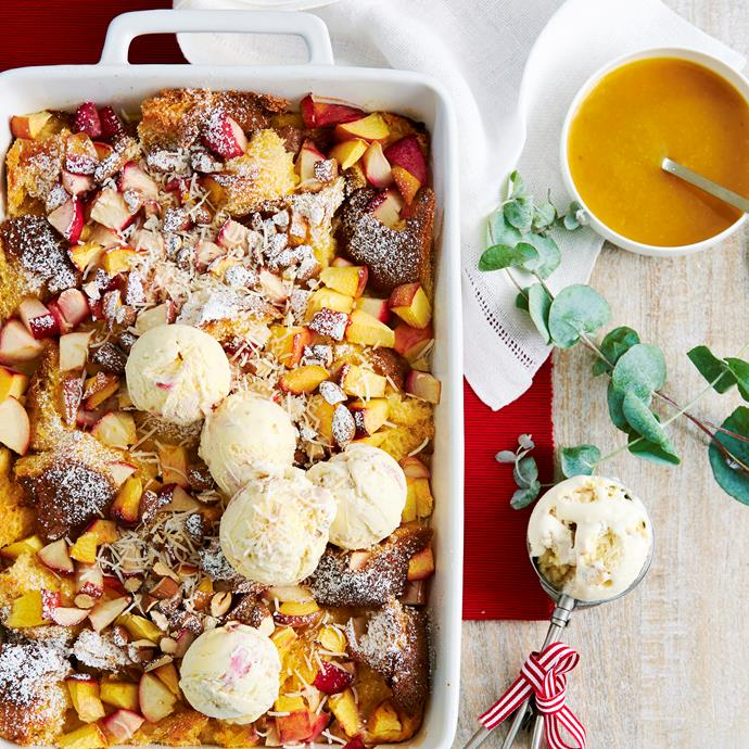 """Pandoro cake is used in this bread-and-butter style [Christmas stone fruit pudding](https://www.womensweeklyfood.com.au/recipes/summer-stone-fruit-pandoro-pudding-31408