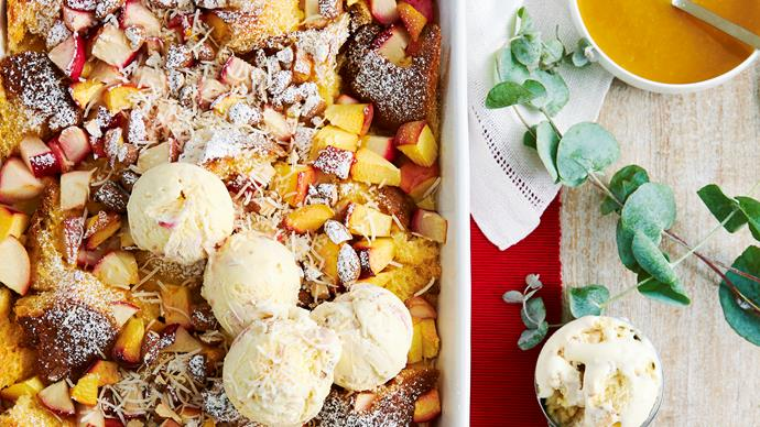 stone fruit pandoro pudding