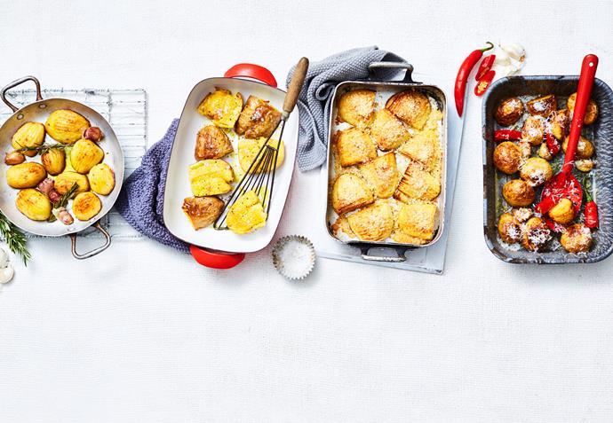 "**[Four ways with roast potatoes](https://www.womensweeklyfood.com.au/recipes/roast-potatoes-4-ways-31409 target=""_blank"")**"