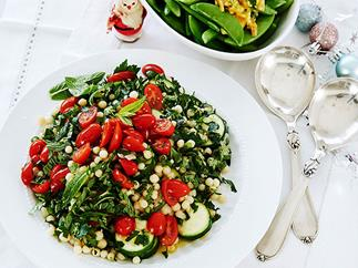 Pearl couscous, zucchini and tomato salad