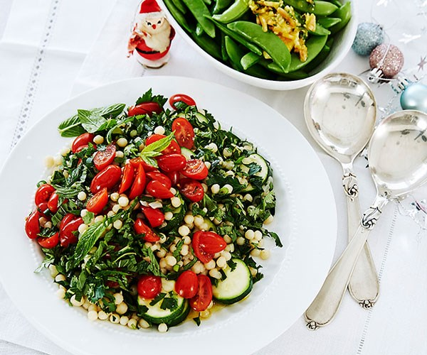 "**[Pearl couscous, zucchini and tomato salad](https://www.womensweeklyfood.com.au/recipes/pearl-couscous-zucchini-and-tomato-salad-31414|target=""_blank"")**"