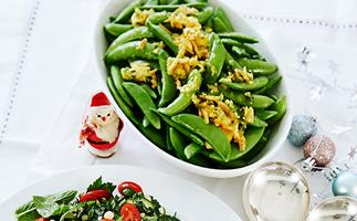 Sugar snap peas with saffron almond butter