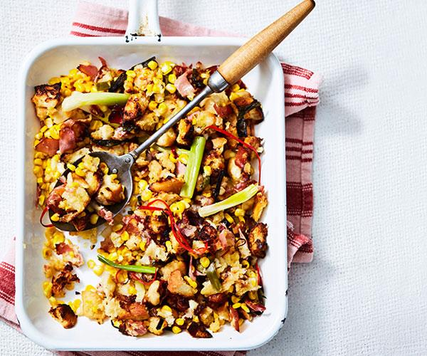 """**[Corn-pancetta pan stuffing](https://www.womensweeklyfood.com.au/recipes/corn-pancetta-pan-stuffing-31423