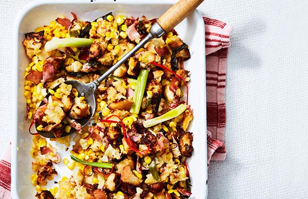 Corn-pancetta pan stuffing