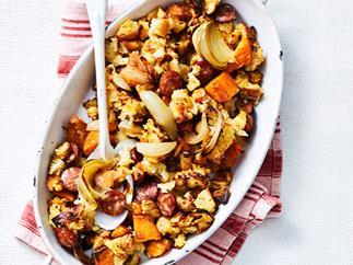 Chorizo-onion pan stuffing