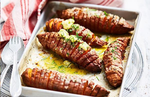 Spiced sweet potatoes with whipped chive butter