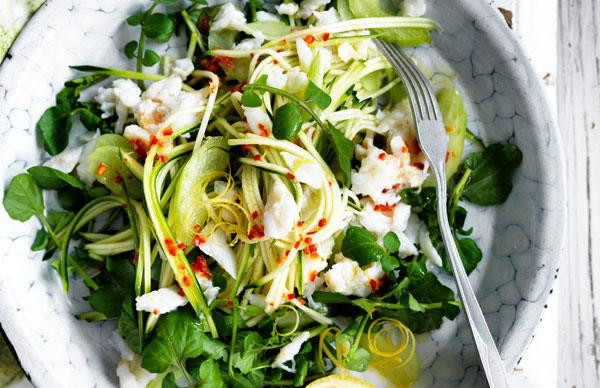 Crab and zucchini spaghetti