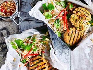 Fish cakes with herb salad