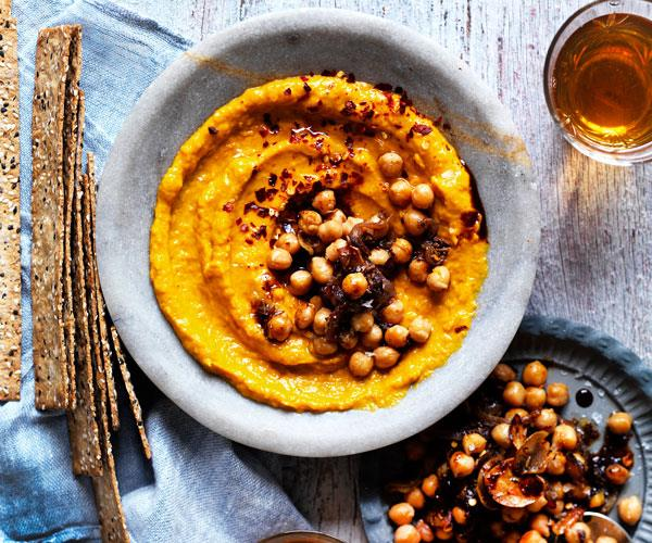 "**[Roast pumpkin dip with spiced chickpeas](https://www.womensweeklyfood.com.au/recipes/roast-pumpkin-dip-with-spiced-chickpeas-31470|target=""_blank"")**  Spiced chickpeas add texture and flavour to this sweet and tangy roast pumpkin dip"