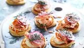Spelt blini with hot smoked salmon and crème fraîche