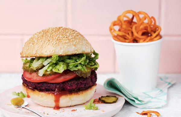 Beet and black bean burger