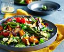 Roasted vegetable salad with garlic mustard dressing