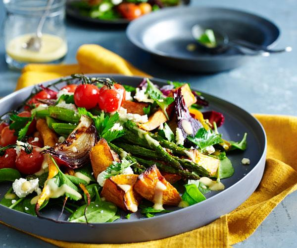 "**[Roasted vegetable salad with garlic mustard dressing](https://www.womensweeklyfood.com.au/recipes/roasted-vegetable-salad-with-garlic-mustard-dressing-31476|target=""_blank"")**  This hearty salad is packed full of roasted vegetables and balanced perfectly with a spicy mustard sauce."