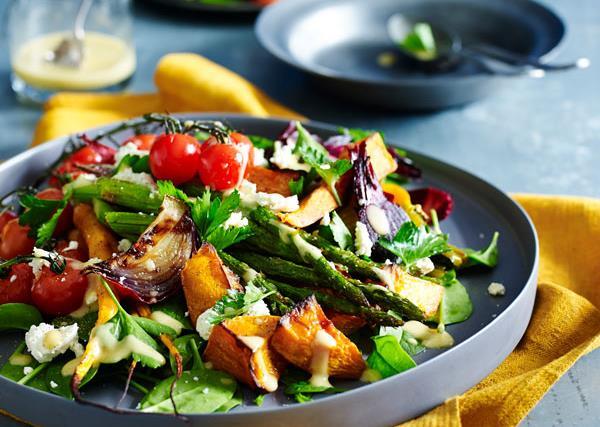 Roasted vegetable salad with garlic mustard dressing