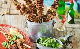 chicken skewers with green olive dressing