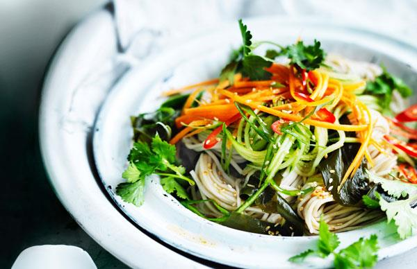 Vegetable and ginger soba noodle salad
