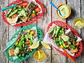 Sumac fish with barley salad and avocado cream