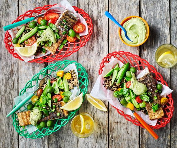 """**[Sumac fish with barley salad and avocado cream](https://www.womensweeklyfood.com.au/recipes/sumac-fish-with-barley-salad-and-avocado-cream-31483