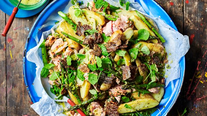Salmon and potato salad with mustardy dressing