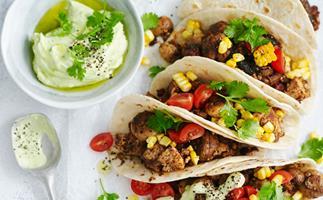 Mushroom and corn tacos