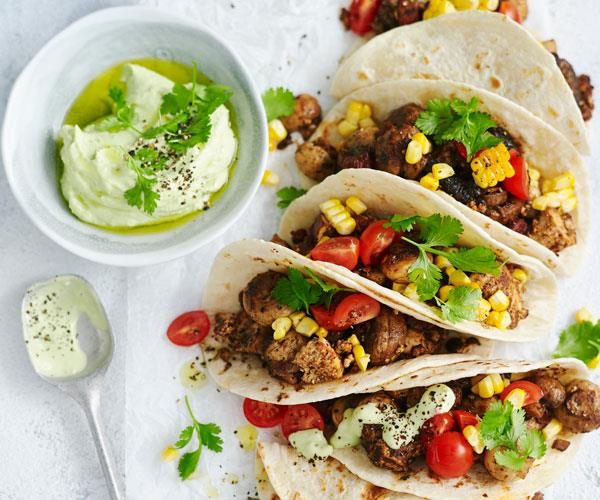 "A mix of mushrooms give these [classic tacos](https://www.womensweeklyfood.com.au/recipes/mushroom-and-corn-tacos-31487|target=""_blank"") a healthy and hearty vegetarian twist."