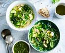 Green minestrone with pesto