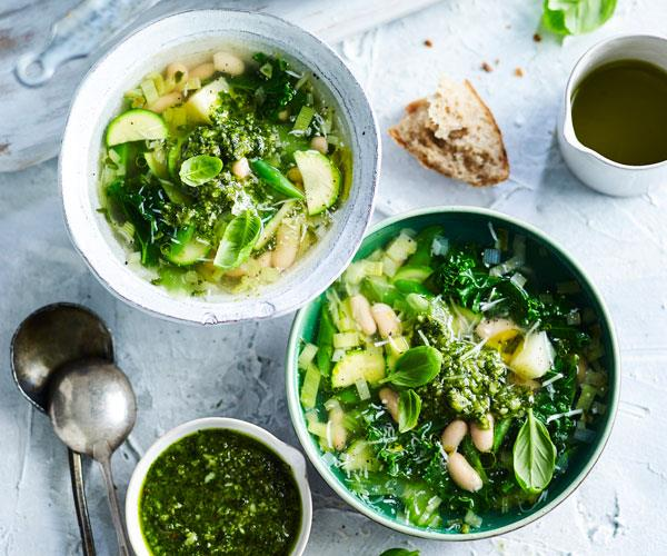 "Fresh, filling and packed with spring flavours this [green minestrone](https://www.womensweeklyfood.com.au/recipes/green-minestrone-with-pesto-31489|target=""_blank"") makes a delicious lunch or light dinner."