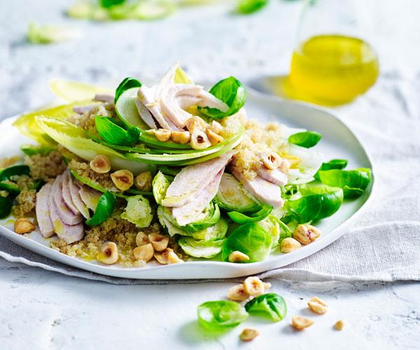 "This [chicken and quinoa salad](https://www.womensweeklyfood.com.au/recipes/chicken-quinoa-and-witlof-salad-31491|target=""_blank"") is a fantastic energy-boosting lunch with crunchy hazelnuts and green apple."