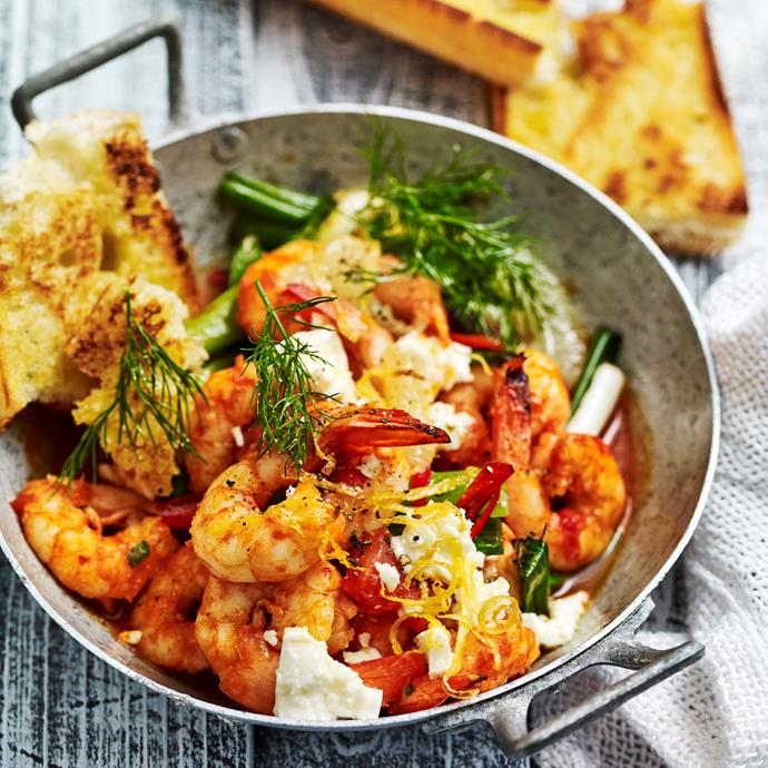 """**[Saganaki prawns](https://www.womensweeklyfood.com.au/recipes/saganaki-prawns-4848