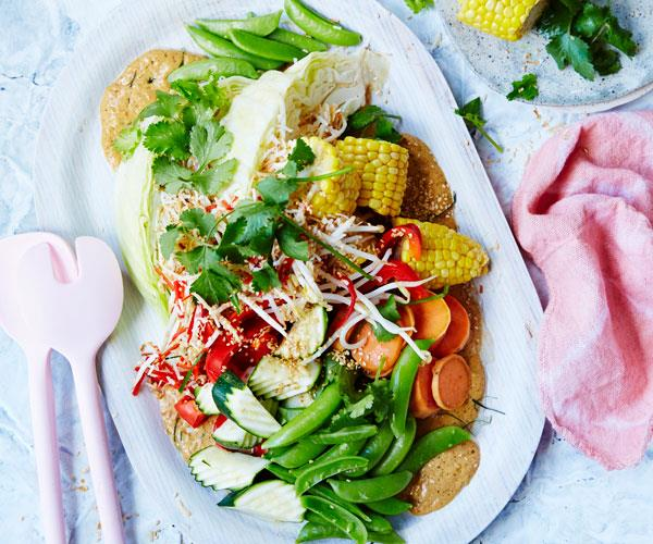 "This well-known Indonesian [gado gado salad](https://www.womensweeklyfood.com.au/recipes/vegetable-gado-gado-with-peanut-sauce-31494|target=""_blank"") features boiled egg, fresh and cooked vegetables and a rich peanut sauce."