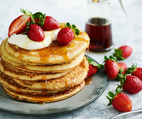 Gluten-free pancakes with strawberries