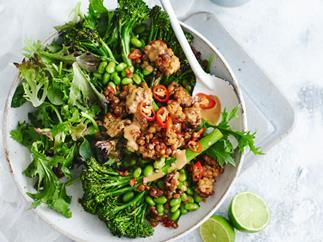 Roasted broccolini, edamame and chilli tempeh salad