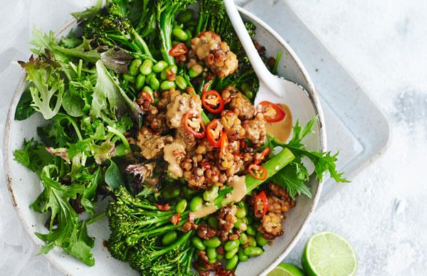 Roasted broccolini, edamame and chilli tempeh salad