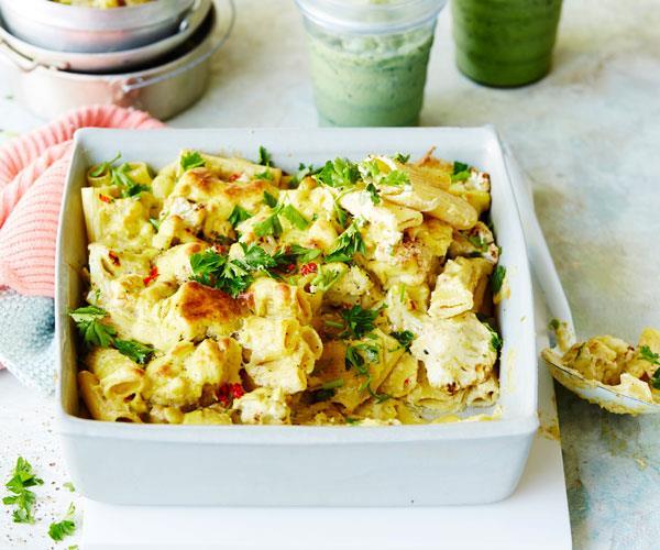 "**[Cauliflower mac 'n' cheese](https://www.womensweeklyfood.com.au/recipes/cauliflower-mac-n-cheese-31512|target=""_blank"")**  Comfort food with a twist."