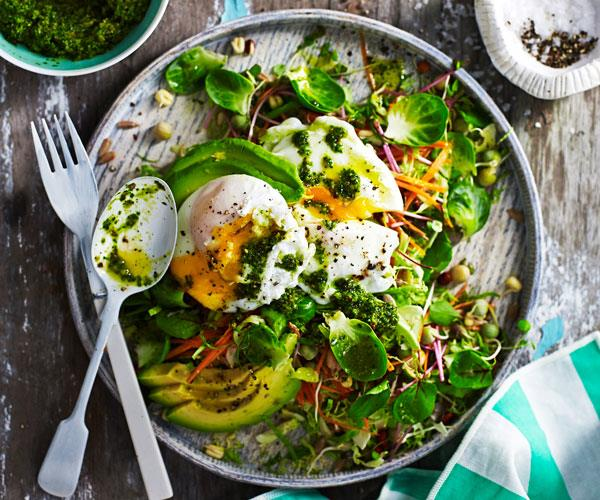 "**[Breakfast salad with poached eggs and kale pesto](https://www.womensweeklyfood.com.au/recipes/breakfast-salad-with-poached-eggs-and-kale-pesto-31514|target=""_blank"")**  Cereal's out - salad's are in. Try this fresh take on breakfast with poached eggs and a refreshing kale pesto."