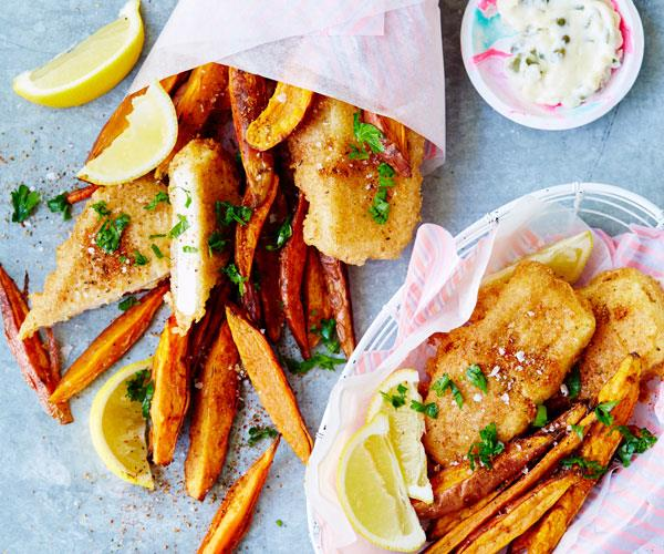 "Flaky flavourful tofu in a crispy beer batter served with wedges for a vegan take on the [classic fish and chips](https://www.womensweeklyfood.com.au/recipes/beer-battered-tofu-31516|target=""_blank"")."