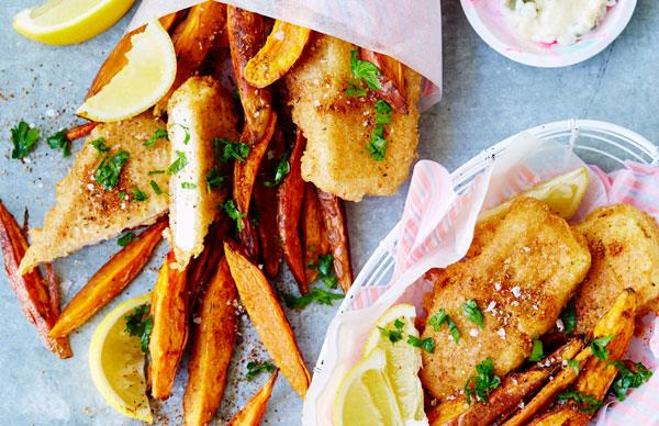 Beer-battered tofu and wedges