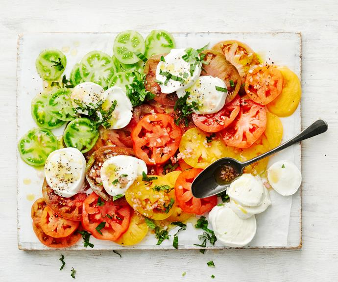 "**[Caprese salad](https://www.womensweeklyfood.com.au/recipes/caprese-salad-25463|target=""_blank"")**  This classic Italian salad featuring sliced fresh mozzarella, tomatoes, and sweet basil is proof that the simple things are often the best."
