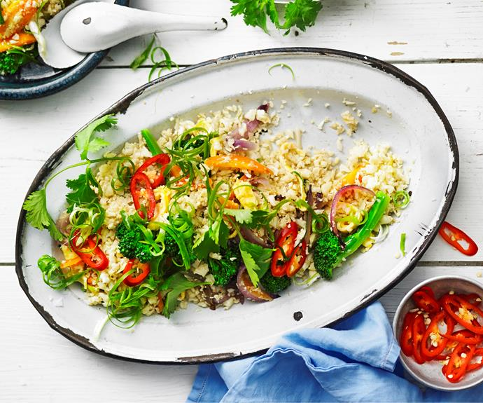 """Ditch the carbs and opt for this delicious paleo version of ['fried rice'](https://www.womensweeklyfood.com.au/recipes/cauliflower-fried-rice-28689