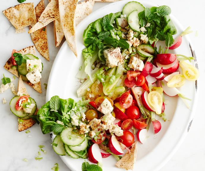 "**[Fattoush](https://www.womensweeklyfood.com.au/recipes/fattoush-28980|target=""_blank"")**  A colourful salad bursting with fresh produce. It's refreshing, crisp and satisfying."