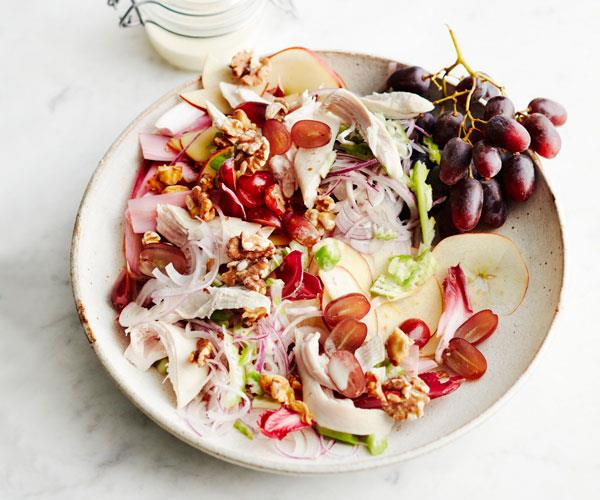 "This classic [Waldorf salad](https://www.womensweeklyfood.com.au/recipes/waldorf-salad-31524|target=""_blank"") is given a boost of flavour and texture with tasty walnuts and poached chicken."