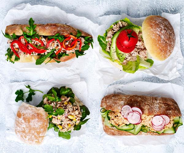 "**[Twisted tuna rolls](https://www.womensweeklyfood.com.au/recipes/twisted-tuna-rolls-31526|target=""_blank"")**  It's the office lunch staple that's quick and easy – turn that can of tuna into a delectable sub in minutes."